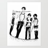 levi Art Prints featuring Squad Levi by PaigeAWArt