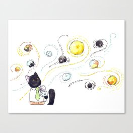 Puck and the Cat Hair Tumbleweeds Canvas Print