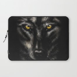 hand-drawing portrait of a black wolf on a black background Laptop Sleeve