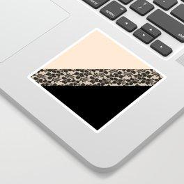 Elegant Peach Ivory Black Floral Lace Color Block Sticker