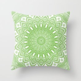 Light Lime Green Mandala Simple Minimal Minimalistic Throw Pillow