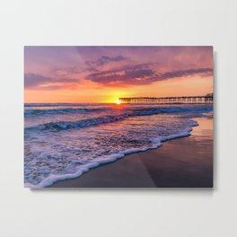 Sunset & Foamy Wave Metal Print