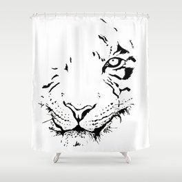 Tiger - black and white Shower Curtain