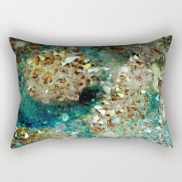 SPARKLING GOLD AND TURQUOISE CRYSTAL Rectangular Pillow
