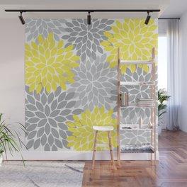 Yellow Gray Flower Burst Petals Floral Pattern Wall Mural