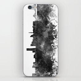 Yokohama skyline in black watercolor on white background iPhone Skin