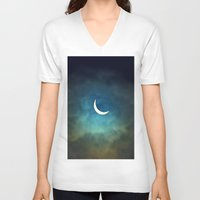 noir V-neck T-shirts featuring Solar Eclipse 1 by Aaron Carberry