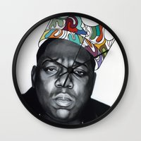 notorious big Wall Clocks featuring Notorious by Jared Yamahata