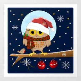 Owl's Christmas in a snowy world Art Print