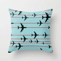 planes Throw Pillows featuring Planes by Frances Roughton