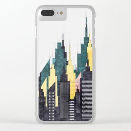 Colorful City Buildings And Skyscrapers Sketch, New York Skyline, Wall Art Poster Decor, New York Clear iPhone Case