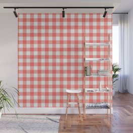 Coral and White Buffalo Plaid (Pantone Living Coral) Wall Mural