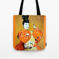 drum Tote Bags featuring Drum Ceremony by Ron Trickett