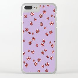Peppermint Candy in Purple Clear iPhone Case