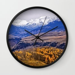 Mountain majesty and autumn gold Wall Clock