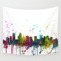 north carolina Wall Tapestries featuring Charlotte, North Carolina Skyline by Marlene Watson