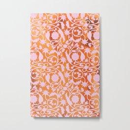 Pink Lotus Pattern Metal Print
