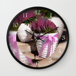 Blooming Calluna vulgaris or heather Wall Clock