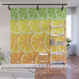 Grapefruit, lemon, orange and lime slices Wall Mural