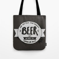 beer Tote Bags featuring Beer by Juliana Rojas | Puchu