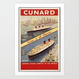 CUNARD Europe to all America Art Print