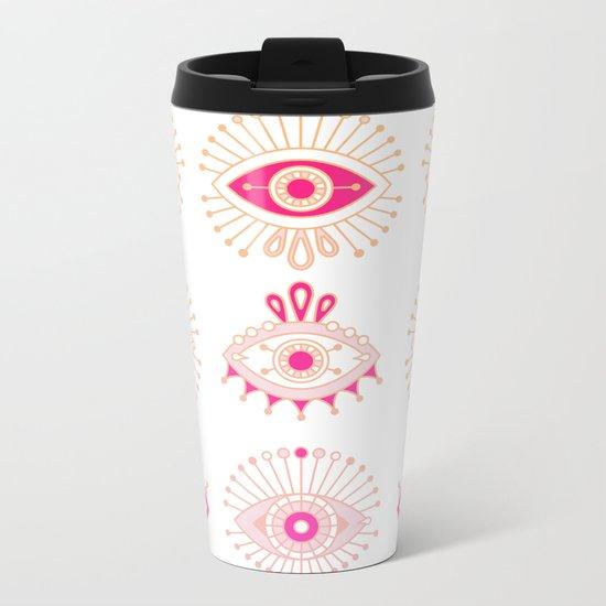 Evil Eyes – Pink Ombré Palette Metal Travel Mug