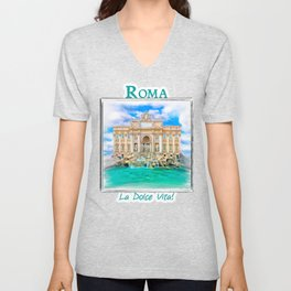 La Dolce Vita - Rome's Trevi Fountain Unisex V-Neck