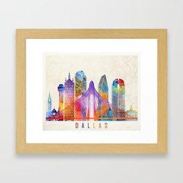Dallas landmarks watercolor poster Framed Art Print