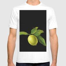 Lemon on Black DP150415a MEDIUM Mens Fitted Tee White