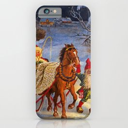 """""""Sled Ride at Night"""" by Jenny Nystrom iPhone Case"""