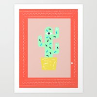 Green cactus within a red frame Art Print