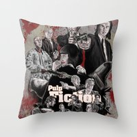 pulp fiction Throw Pillows featuring Pulp Fiction by AWAL
