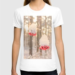 Rowan berries in the snow T-shirt