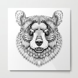 Beast. Mighty brown bear black & white zentangle style Metal Print