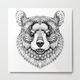 Beast. Mighty brown bear black & white zentangle style Metal Print