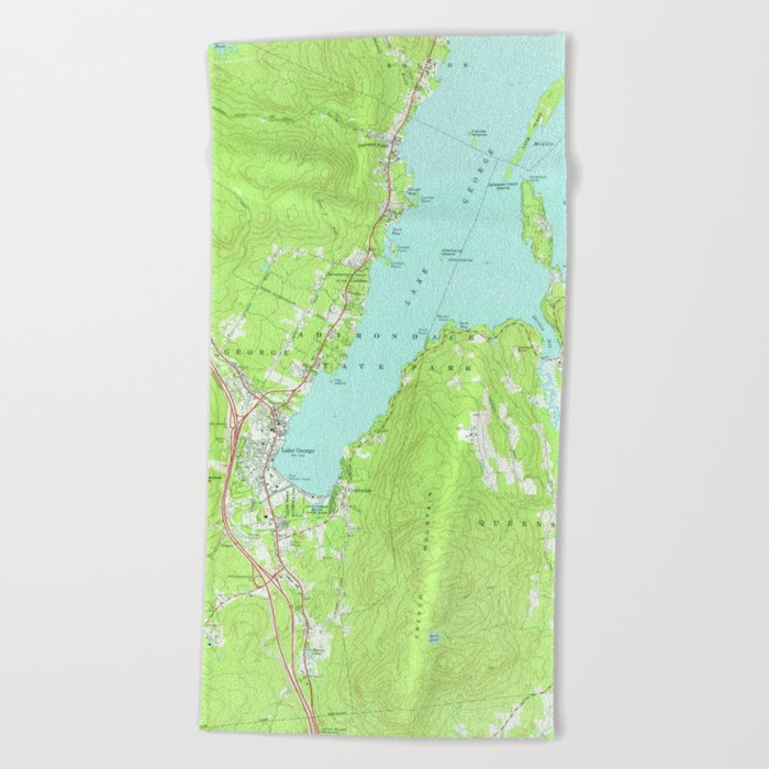 Vintage Map of Lake George New York (1966) 2 Beach Towel by ...