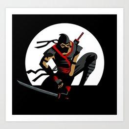 ninja warrior and full moon Art Print