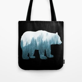 Misty Forest Bear - Turqoise Tote Bag