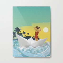 Girl in Boat Collage Metal Print