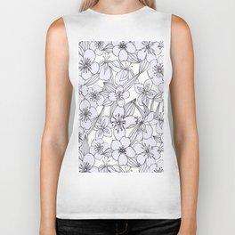 Hand drawn modern black white botanical floral pattern Biker Tank