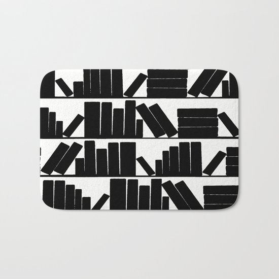 Library Book Shelves, black and white Bath Mat