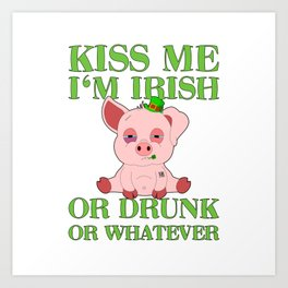 St Patricks Day Pig Irish Drinking Team Gift Art Print