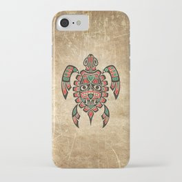 Vintage Red and Green Haida Spirit Sea Turtle iPhone Case