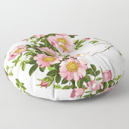 Vintage Japanese Cherry Blossoms, Pink and Gold Floor Pillow