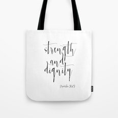 Bible Verse Proverbs31:25 Christian Quote Typography Wall Art Printable Art Bible Verse Printable Tote Bag