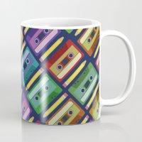 90s Mugs featuring 90s pattern by Gabor Nemethi