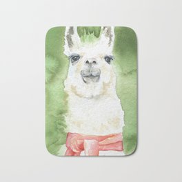 Llama with Red Scarf Watercolor Bath Mat