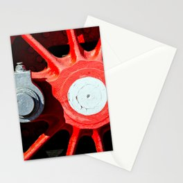 Grunge Red Wheel And White Driving Rod Of A Vintage Steam Engine Locomotive Stationery Cards