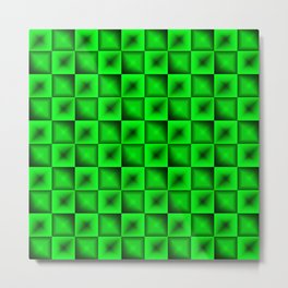 Fashionable large glare from small green intersecting squares in gradient dark cage. Metal Print
