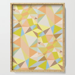 Pastel Earth Tone Triangle Pattern Serving Tray